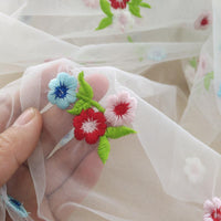 130cm Width Colorful Flower Pattern Embroidery Lace Fabric by the Yard
