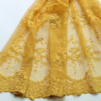 130cm Width Length Floral Yellow Embroidery Lace Fabric by the Yard