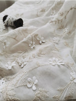 135cm Width Three-dimensional Floral Pattern and Silver lining Embroidery Chiffon Lace Fabric by the Yard