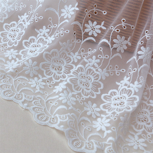 42cm Width x 200cm Length Thriving Botanical Flowers Eyelet Tulle Embroidery Lace Fabric Trim