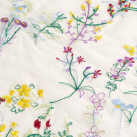 130cm Width Botanical Grass and Flowers Embroidery Tulle Lace Fabric by the Yard
