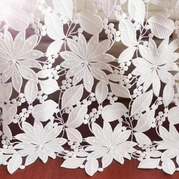 130cm Width Hollow out Leaf and Floral Jacquard Lace Fabric by the Yard