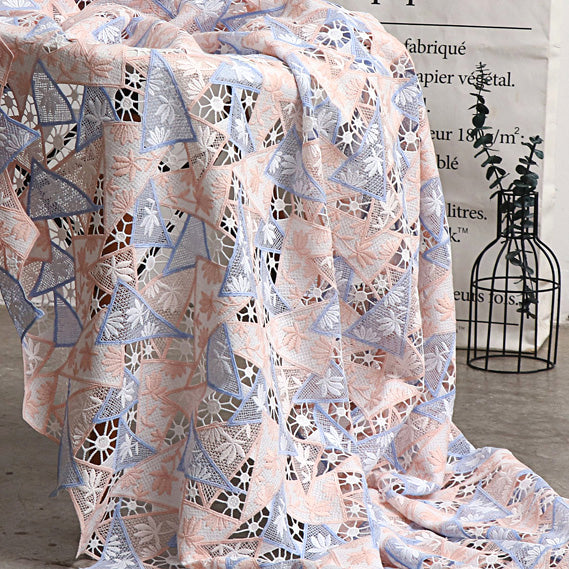 125cm Width x 95cm Length Premium Geometry Pattern Hollow out Floral Embroidery Fabric