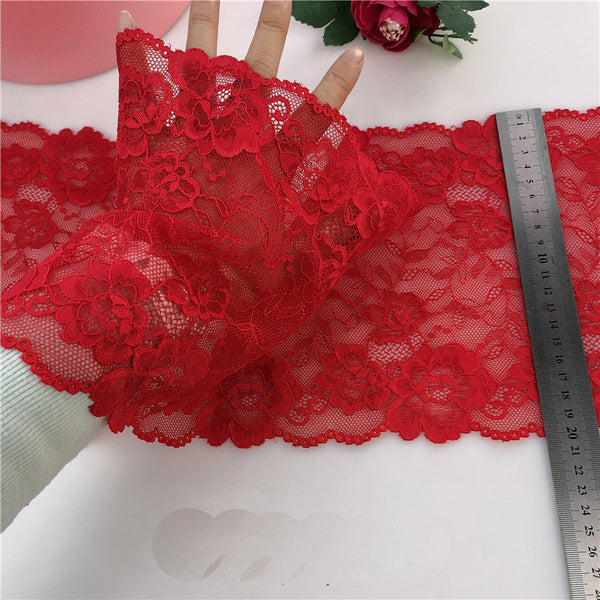 20cm Width x 190cm Length Premium Elastic Floral Embroidery Lace Fabric Trim Red