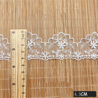 4.5 Yards of 1.7 inches Width Vintage Flower Embroidery Tulle Lace Ribbon
