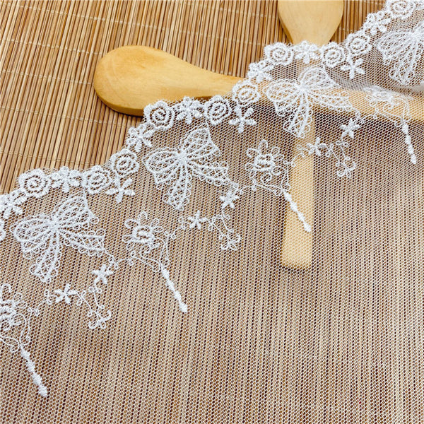 4.5 Yards of 5.9 inches Width Premium Bowknot Floral Embroidery Tulle Lace Trim Frill Lace