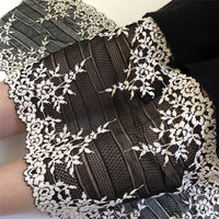 20cm Width x 290cm Length Premium Elastic Black and White Contrast Floral Embroidery Lace Fabric Trim