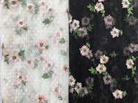 130cm Width x 90cm Length  Leaf Floral Embroidery Lace Fabric