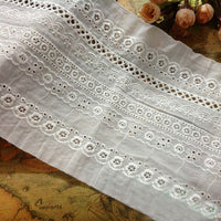 3 Yards of 15cm Width Vintage Floral Embroidered Cotton Eyelet Fabric Trim