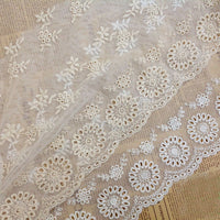 2 Yards of 25cm Width Premium Floral Embroidery Cotton Lace Trim