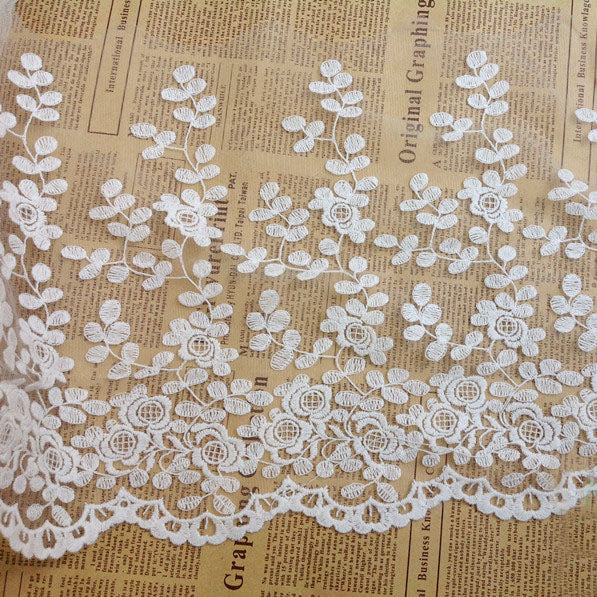 2 Yards of 27cm Width Leaf Branches Embroidery Rigid Tulle Lace Fabric