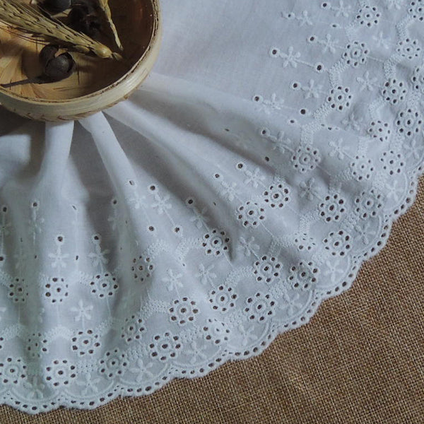 2 Yards of 18cm Width Floral Embroidery Cotton Eyelet Fabric Trim