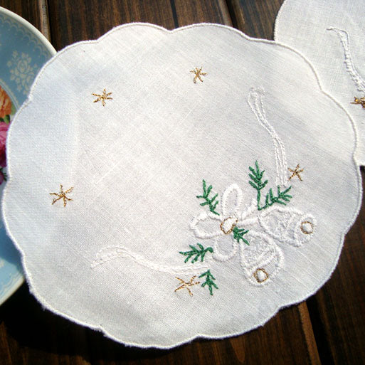 12 PCS of 13cm Diameter Cotton Coaster Place Mat with Bells Embroidery