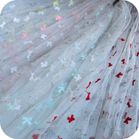 "51"" Width Romantic Butterfly and Musical Notes Embroidery Lace Fabric by The Yard"