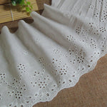 3 Yards of 18cm Width Vintage Cotton Embroidery Eyelet Lace Fabric Trim
