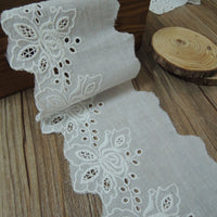 4 Yards of 8.8cm Width Cotton Embroidery Lace Eyelet Trim