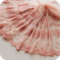 "19"" Width Cotton Embroidery Pink Eyelet Lace Fabric by the Yard"