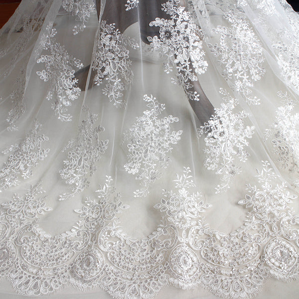 OFF-White Botanical Brach Sequins Embroidery Floral Lace Fabric Wedding Lace Bridal Dress Fabric by the Yard