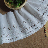 4 Yards of 12cm Width Floral Pattern Embroidery Eyelet Lace Cotton Fabric Trim