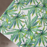 "59"" Width Botanical Green Bamboo Leaves Print Canvas Fabric by The Yard"