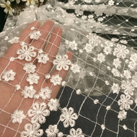 "51"" Width 3D Grid and Floral Embroidery Wedding Bridal Veil Lace Fabric by the Yard"