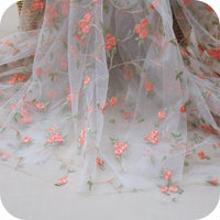 130cm Width Floral Pattern Embroidery Lace Fabric by the Yard