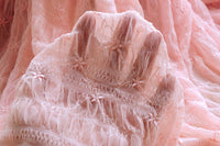 "51"" Width Light Pink Bubble Yarn Flowers Embroidery Net Yarn Lace Fabric by the Yard"
