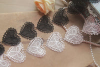 5cm Width x 270cm Length Classical Heart Shape Embroidery Water Soluble Chemical Lace Applique