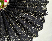 180cm Width Black Hollow-out Water Soluble Embroidery Lace Fabric
