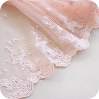 3 Yards of 25cm Width Premium Fine Pink Floral Embroidery Lace Fabric