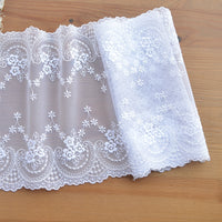 3 Yards of 20cm Width Premium Floral Embroidered Lace Fabric Trim