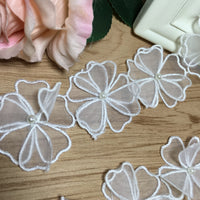 2 Yards of 6cm Width Two Tiers Organza Embroidery Flower Applique– 17 Flowers per Yard