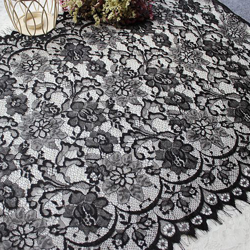 3 Meters Of 50cm Width Eyelash Floral Embroidery Lace