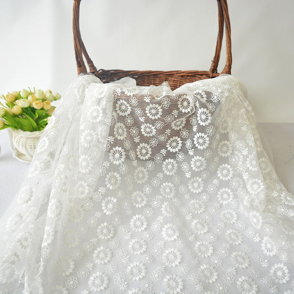 "53"" Width Organza Dandelion White Embroidery Lace Fabric by The Yard"