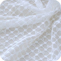 "51"" Width Swiss Grid with Butterfly and Flower Knots Embroidery Lace Fabric by the Yard"