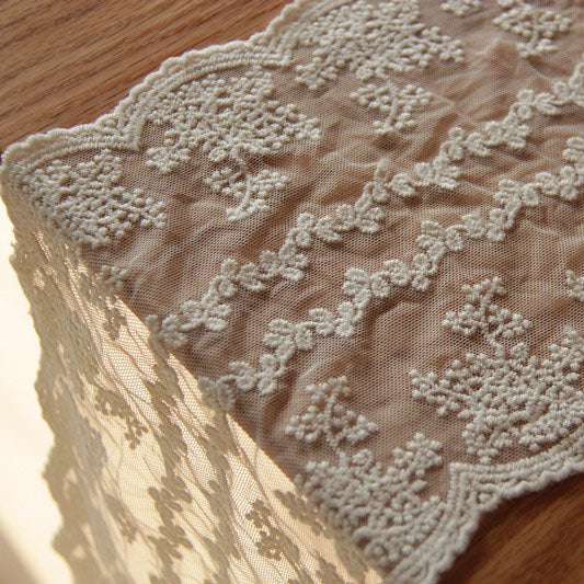 3 Yards of 17cm Width Symmetrical Floral Embroidery Lace Trim