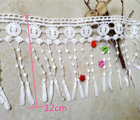 5 Yards of 12cm Width Embroidery Lace Embellishment Ribbon Tassel Fringe