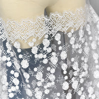 "51"" Width Premium Snow White Snowflake Embroidery Bridal Lace Veil Wedding Gauze Decorative Fabric by the Yard"
