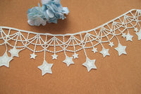 2 Yards of 11cm Width Hanging Curtain Beeds Stars Sewing Embroidery Lace Embellishment Fringe Tassel