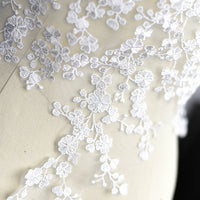 2PCS Wedding Bridal Veil Floral Applique 54x28cm