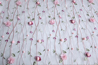 "49"" Width Premium 3D Embroidered Branch Leaf and Floral Lace Fabric by the Yard"