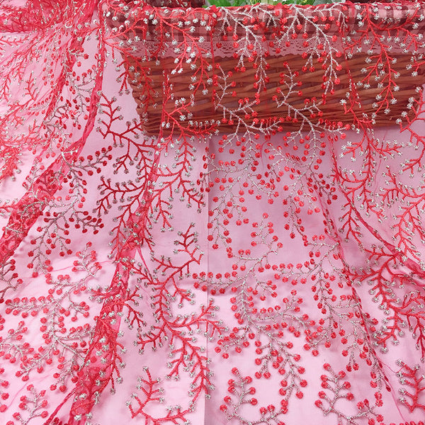 145cm Width x 95cm Length Romantic Branch Flower Embroidery Lace Fabric