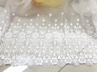 "47"" Width Symmetrical Vintage Floral Embroidery White Lace Fabric by The Yard"