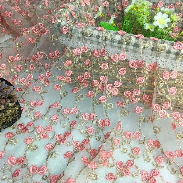 120cm Width x 90cm Length Pink Floral Embroidery Lace Fabric