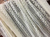 "51"" Width Premium Parallel Floral Embroidery Lace Fabric by the Yard"