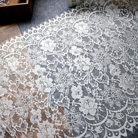 3 Meters of 50cm Width Eyelash Floral Embroidery Lace Fabric