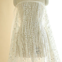 130cm Width x 95cm Length Premium Beads-like Embroidery Bridal Wedding Lace Fabric