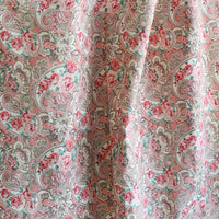 "59"" Width Vintage Cotton Linen Pink Floral Fabric by the Yard"