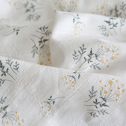 "55"" Width Little Yellow Flowers Embroidery Jacquard Cotton Cloth Fabric by the Yard"