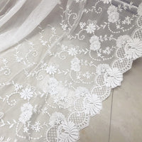 "48"" Width Symmetrical Floral Embroidered Lace Fabric by The Yard"